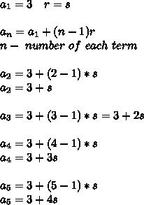 a_1=3\ \ \ r=s\\\\a_n=a_1+(n-1)r\\\n-\ number\ of\ each\ term\\\\a_2=3+(2-1)*s\\a_2=3+s\\\\a_3=3+(3-1)*s=3+2s\\\\a_4=3+(4-1)*s\\a_4=3+3s\\\\a_5=3+(5-1)*s\\a_5=3+4s