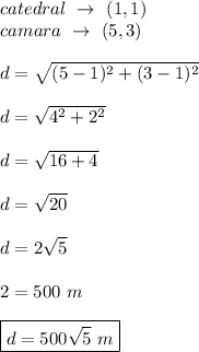 catedral\ \rightarrow\ (1,1)\\ camara\ \rightarrow\ (5,3)\\\\ d=\sqrt{(5-1)^2+(3-1)^2}\\\\ d=\sqrt{4^2+2^2}\\\\ d=\sqrt{16+4}\\\\ d=\sqrt{20}\\\\ d=2\sqrt{5}\\\\ 2=500\ m\\\\ \boxed{d=500\sqrt{5}\ m}