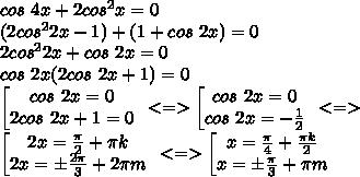 cos\ 4x+2cos^2x=0\\(2cos^22x-1)+(1+cos\ 2x)=0\\2cos^22x+cos\ 2x=0\\ cos\ 2x(2cos\ 2x+1)=0\\\left[ \begin{matrix} cos\ 2x=0\\ 2cos\ 2x+1=0 \end{matrix}\right\ <=> \left[ \begin{matrix} cos\ 2x=0\\ cos\ 2x=-\frac{1}{2} \end{matrix}\right\ <=> \\\left[ \begin{matrix} 2x=\frac{\pi}{2}+\pi k\\ 2x=\pm \frac{2\pi}{3}+2\pi m \end{matrix}\right\  <=> \left[ \begin{matrix} x=\frac{\pi}{4}+\frac{\pi k}{2}\\ x=\pm \frac{\pi}{3}+\pi m \end{matrix}\right.