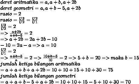 deret~aritmatika=a,a+b,a+2b \\ deret~geometri=a,a+b-5,a+2b \\ rasio=2 \\ rasio= \frac{U3}{U2}= \frac{U2}{U1}   \\ \frac{U3}{U2}=2 \\  =>\frac{a+2b}{a+b-5}=2 \\ =>a+2b=2a+2b-10 \\ -10=2a-a=>a=10 \\ \frac{U2}{U1}=2 \\ => \frac{a+b-5}{a}=2  =>\frac{10+b-5}{10}=2 =>5+b=20=>maka~b=15 \\ jumlah~ketiga~bilangan~aritmatika \\ =a+a+b+a+2b=10+10+15+10+30=75 \\  jumlah~ketiga~bilangan~geometri \\ =a+a+b-5+a+2b=10+10+15-5+10+30=70