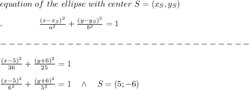 equation\ of\ the\ ellipse\ with\ center\ S=(x_S,y_S)\\ \\.\ \ \ \ \ \ \ \ \ \ \ \ \ \frac{(x-x_S)^2}{a^2} +\frac{(y-y_S)^2}{b^2} =1\\ \\------------------------------\\ \\ \frac{(x-5)^2}{36} +\frac{(y+6)^2}{25} =1\\ \\\frac{(x-5)^2}{6^2} +\frac{(y+6)^2}{5^2} =1\ \ \ \wedge\ \ \ S=(5;-6)