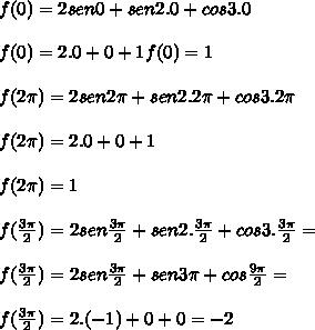 f(0)= 2sen 0 + sen 2.0 + cos 3.0 \\\\f(0)=2.0+0+1f(0)=1\\\\f(2\pi)= 2sen 2\pi + sen 2.2\pi + cos 3.2\pi  \\\\f(2\pi)=2.0+0+1  \\\\f(2\pi)=1  \\\\f(\frac{3\pi}{2})= 2sen \frac{3\pi}{2} + sen 2.\frac{3\pi}{2} + cos 3.\frac{3\pi}{2}= \\\\f(\frac{3\pi}{2})= 2sen \frac{3\pi}{2} + sen 3\pi + cos \frac{9\pi}{2}= \\\\f(\frac{3\pi}{2})=2.(-1)+0+0=-2