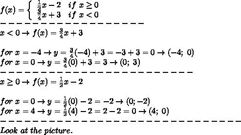 f(x)=  \left\{\begin{array}{ccc}\frac{1}{2}x-2&if\ x\geq0\\\frac{3}{4}x+3&if\ x < 0\end{array}\right\\------------------\\x < 0\to f(x)=\frac{3}{4}x+3\\\\for\ x=-4\to y=\frac{3}{4}(-4)+3=-3+3=0\to(-4;\ 0)\\for\ x=0\to y=\frac{3}{4}(0)+3=3\to(0;\ 3)\\------------------------\\x\geq0\to f(x)=\frac{1}{2}x-2\\\\for\ x=0\to y=\frac{1}{2}(0)-2=-2\to(0;-2)\\for\ x=4\to y=\frac{1}{2}(4)-2=2-2=0\to(4;\ 0)\\------------------------------\\Look\ at\ the\ picture.