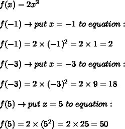 f(x)=2x^2\\\\f(-1)\to put\ x=-1\ to\ equation:\\\\f(-1)=2\times(-1)^2=2\times1=2\\\\f(-3)\to put\ x=-3\ to\ equation:\\\\f(-3)=2\times(-3)^2=2\times9=18\\\\f(5)\to put\ x=5\ to\ equation:\\\\f(5)=2\times(5^2)=2\times25=50