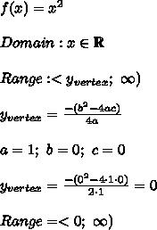 f(x)=x^2\\\\Domain:x\in\mathbb{R}\\\\Range:< y_{vertex};\ \infty)\\\\y_{vertex}=\frac{-(b^2-4ac)}{4a}\\\\a=1;\ b=0;\ c=0\\\\y_{vertex}=\frac{-(0^2-4\cdot1\cdot0)}{2\cdot1}=0\\\\Range=<0;\ \infty)