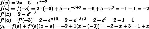 f(x) = 2x + 5 - e^{x+3} \\\f(a)=f(-3) = 2\cdot(-3) + 5 - e^{-3+3} = -6+ 5 - e^{0} =-1 - 1 =-2\\\f`(x) = 2  - e^{x+3} \\\f`(a)=f`(-3) = 2  - e^{x+3} = 2  - e^{-3+3} =2  - e^{0} =2-1=1\\\y_k=f(a)+f`(a)(x-a)=-2+1(x-(-3))=-2+x+3=1+x