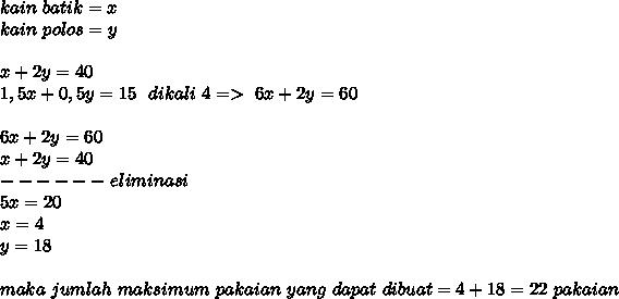 kain~batik=x \\ kain~polos=y \\  \\ x+2y=40 \\ 1,5x+0,5y=15~~dikali~4=>~6x+2y=60 \\  \\ 6x+2y=60 \\ x+2y=40 \\ ------~eliminasi \\ 5x=20 \\ x=4 \\ y=18 \\  \\ maka~jumlah~maksimum~pakaian~yang~dapat~dibuat=4+18=22~pakaian