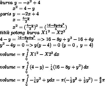 kurva~y=-x^2+4 \\ ~~~~~~~~~x^2=4-y \\ garis~y=-2x+4 \\ ~~~~~~~~~x= \frac{4-y}{2}  \\ ~~~~~~~~~x^2=(\frac{4-y}{2})^2 =( \frac{16-8y+y^2}{4}) \\ titik~potong~kurva~X1^2=X2^2 \\   4-y= \frac{16-8y+y^2}{4}=>16-8y+y^2-16+4y \\ y^2-4y=0=>y(y-4)=0~(y=0~,~y=4) \\  volume=\pi  \int\limits^4_0 {X1^2-X2^2} \, dx  \\ volume=\pi  \int\limits^4_0 {(4-y)- \frac{1}{4}(16-8y+y^2) } \, dx \\ volume=\pi  \int\limits^4_0 {- \frac{1}{4}y^2+y  }dx= \pi ( -\frac{1}{2} y^3+ \frac{1}{2} y^2)= \frac{8}{3} \pi