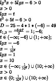 lg^2x+5lgx-6>0\\ x>0\\ lgx=t\\ t^2+5t-6>0\\ D=25-4*1*(-6)=49\\ t_{1,2}=\frac{-5\pm 7}{2}=1;-6;\\ t\in(-\infty;-6)\cup(1;+\infty);\\ lgx=-6\\ x=\frac{1}{10^6}\\ lgx=1\\ x=10\\ x\in(-\infty;\frac{1}{10^6})\cup(10;+\infty)\\ x>0\\ x\in(0;\frac{1}{10^6})\cup(10;+\infty)