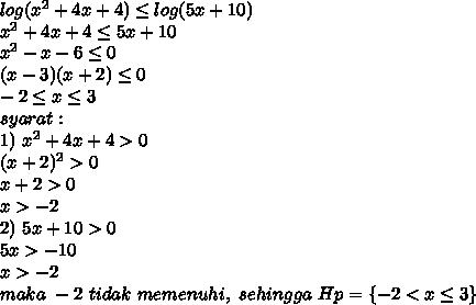 log(x^2+4x+4) \leq log(5x+10)\\ x^2+4x+4 \leq 5x+10\\ x^2-x-6 \leq 0\\ (x-3)(x+2) \leq 0\\ -2 \leq x \leq 3\\ syarat:\\ 1)\ x^2+4x+4>0\\ (x+2)^2>0\\ x+2>0\\ x>-2\\ 2)\ 5x+10>0\\ 5x>-10\\ x>-2\\ maka\ -2\ tidak\ memenuhi,\ sehingga\ Hp=\{-2<x\leq3\}
