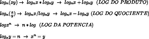 log _{n}(xy)\to~log _{n}x*log _{n}y~\to~log _{n}x+log _{n}y~~(LOG~DO~PRODUTO)\\\\log _{n}( \frac{x}{y})\to~log _{n}x/log _{n}y~\to~log _{n}x-log _{n}y~(LOG~DO~QUOCIENTE)\\\\logx ^{n}~\to~n*log~~(LOG~DA~POTENCIA)\\\\log _{x}y=n~\to~x ^{n}=y