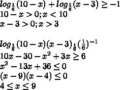 log_{\frac{1}{6}}(10-x) + log_{\frac{1}{6}}(x-3) \geq-1\\ 10-x>0; x <10\\ x-3 > 0; x >3\\ \\ log_{\frac{1}{6}}(10-x)(x-3)\geqlog_{\frac{1}{6}}(\frac{1}{6})^{-1}\\ 10x-30-x^2+3x\geq6\\ x^2 - 13x+36\leq0\\ (x-9)(x-4)\leq0\\ 4\leq x \leq9