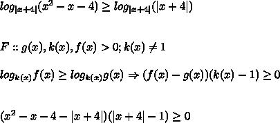 log_{|x + 4|}(x^2 - x - 4) \geq log_{|x + 4|}(|x + 4|)\\\ F :: g(x), k(x), f(x) > 0; k(x) \ne 1\\ log_{k(x)}f(x) \geq log_{k(x)}g(x) \Rightarrow (f(x) - g(x))(k(x)-1) \geq 0 \\\ (x^2 - x - 4 - |x + 4|)(|x+4| - 1) \geq 0
