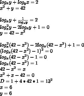 log_{x}y+log_{y}x=2\\x^2+y=42\\\\log_{x}y+\frac{1}{log_{x}y}=2\\log_{x}^2y-2log_{x}y+1=0\\y=42-x^2\\\\log_{x}^2(42-x^2)-2log_{x}(42-x^2)+1=0\\(log_{x}(42-x^2)-1)^2=0\\log_{x}(42-x^2)-1=0\\log_{x}(42-x^2)=1\\42-x^2=x\\x^2+x-42=0\\D=1+4*42*1=13^2\\x=6\\y=6