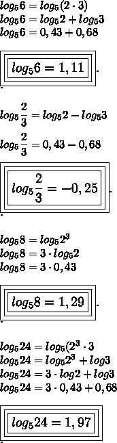 log_56=log_5(2\cdot3)\\log_56=log_52+log_53\\log_56=0,43+0,68\\\\\large\boxed{\boxed{\boxed{log_56=1,11}}}.\\.\\\\log_5 \dfrac{2}{3}=log_52-log_53\\\\log_5 \dfrac{2}{3}=0,43-0,68\\\\\boxed{\boxed{\boxed{log_5 \dfrac{2}{3}=-0,25}}}.\\.\\\\log_58=log_52^3\\log_58=3\cdot log_52\\log_58=3\cdot0,43\\\\\large\boxed{\boxed{\boxed{log_58=1,29}}}.\\.\\\\log_524=log_5(2^3\cdot3\\log_524=log_52^3+log3\\log_524=3\cdot log2+log3\\log_524=3\cdot0,43+0,68\\\\\large\boxed{\boxed{\boxed{log_524=1,97}}}\\.