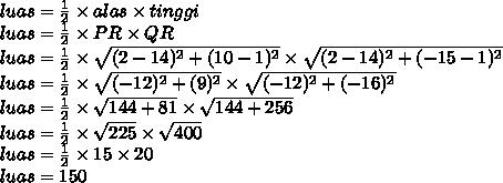 luas= \frac{1}{2}\times alas \times tinggi\\luas =   \frac{1}{2}\times PR \times QR\\luas =   \frac{1}{2}\times  \sqrt{(2-14)^2+(10-1)^2}  \times  \sqrt{(2-14)^2+(-15-1)^2} \\luas =   \frac{1}{2}\times  \sqrt{(-12)^2+(9)^2}  \times  \sqrt{(-12)^2+(-16)^2} \\luas =   \frac{1}{2}\times  \sqrt{144+81}  \times  \sqrt{144+256} \\luas =   \frac{1}{2}\times  \sqrt{225}  \times  \sqrt{400} \\luas =   \frac{1}{2}\times  15 \times 20 \\luas = 150