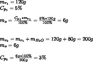 m_{r_{1}}=120g\\ C_{p_{1}}=5\%\\\\ m_{s}=\frac{C_{p_{1}}*m_{r_{1}}}{100\%}=\frac{5\%*120g}{100\%}=6g\\\\\\ m_{r_{2}}=m_{r_{1}}+m_{H_{2}O}=120g+80g=200g\\ m_{s}=6g\\\\ C_{p_{2}}=\frac{6g*100\%}{200g}=3\%