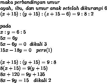 maka~perbandingan ~umur \\ ayah,~ ibu, ~dan ~umur ~anak~ setelah ~dikurangi ~6 \\ (x + 15) : (y + 15) : (z + 15 - 6) = 9 : 8 : 2 \\ \\ pada \\ x:y=6:5 \\ 5x=6y \\ 5x-6y=0~~dikali~3 \\15x-18y=0~~~pers(1) \\ \\ (x + 15) : (y + 15)=9:8 \\ 8(x+15)=9(y+15) \\ 8x+120=9y+135 \\ 8x-9y=15~~~dikali~2