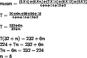 mean =  \frac{(5X4)+(6Xn)+(7X14)+(8X12)+(9X2)}{4+n+14+12+2}  \\ \\  7 =  \frac{20+6n+98+96+18}{4+n+14+12+2}  \\  \\ 7 =  \frac{232+6n}{32+n}  \\  \\ 7(32+n) = 232 + 6n \\ 224 + 7n = 232 + 6n \\ 7n - 6n = 232 - 224 \\ n = 8