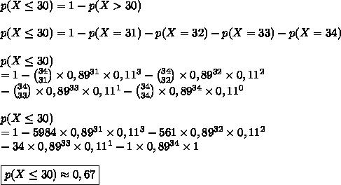 p(X\le30)=1-p(X>30)\\\\p(X\le30)=1-p(X=31)-p(X=32)-p(X=33)-p(X=34)\\\\p(X\le30)\\=1-\binom{34}{31}\times0,89^{31}\times0,11^3-\binom{34}{32}\times0,89^{32}\times0,11^2\\-\binom{34}{33}\times0,89^{33}\times0,11^1-\binom{34}{34}\times0,89^{34}\times0,11^0\\\\p(X\le30)\\=1-5984\times0,89^{31}\times0,11^3-561\times0,89^{32}\times0,11^2\\-34\times0,89^{33}\times0,11^1-1\times0,89^{34}\times1\\\\\boxed{p(X\le30)\approx0,67}