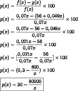p(x)=\dfrac{f(x)-g(x)}{f(x)}\times100\\\\p(x)=\dfrac{0,07x-(56+0,049x)}{0,07x}\times100\\\\p(x)=\dfrac{0,07x-56-0,049x}{0,07x}\times100\\\\p(x)=\dfrac{0,021x-56}{0,07x}\times100\\\\p(x)=[\dfrac{0,021x}{0,07x}-\dfrac{56}{0,07x}]\times100\\\\p(x)=(0,3-\dfrac{800}{x})\times100\\\\\boxed{p(x)=30-\dfrac{80000}{x}}