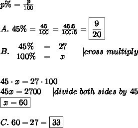 p\%=\frac{p}{100}\\\\A.\ 45\%=\frac{45}{100}=\frac{45:5}{100:5}=\boxed{\frac{9}{20}}\\\\B.\   \begin{array}{ccc}45\%&-&27\\100\%&-&x\end{array}\ \ \ \ |cross\ multiply\\\\\\45\cdot x=27\cdot100\\45x=2700\ \ \ \ |divide\ both\ sides\ by\ 45\\\boxed{x=60}\\\\C.\ 60-27=\boxed{33}