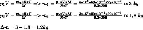 p_1V=\frac{m_1*R*T}{M}=>m_1=\frac{p_1*V*M}{R*T}=\frac{5*10^6*50*10^{-3}*29*10^{-3}}{8.3*295}\approx3\ kg\\\\p_2V=\frac{m_2*R*T}{M}=>m_2=\frac{p_2*V*M}{R*T}=\frac{3*10^6*50*10^{-3}*29*10^{-3}}{8.3*295}\approx1,8\ kg\\\\зm=3-1.8=1.2kg