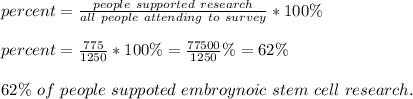 percent=\frac{people\ supported\ research}{all\ people\ attending\ to\ survey}*100\%\\\\percent=\frac{775}{1250}*100\%=\frac{77500}{1250}\%=62\%\\\\62\%\ of\ people\ suppoted\ embroynoic \ stem\ cell\ research.