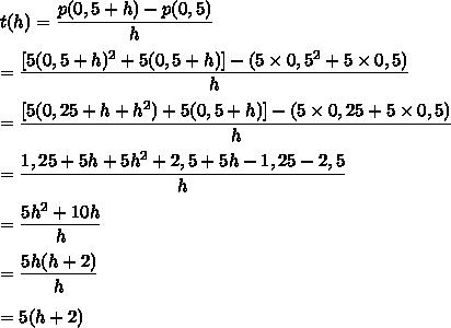 t(h)=\dfrac{p(0,5+h)-p(0,5)}{h}\\\\=\dfrac{[5(0,5+h)^2+5(0,5+h)]-(5\times0,5^2+5\times0,5)}{h}\\\\=\dfrac{[5(0,25+h+h^2)+5(0,5+h)]-(5\times0,25+5\times0,5)}{h}\\\\=\dfrac{1,25+5h+5h^2+2,5+5h-1,25-2,5}{h}\\\\=\dfrac{5h^2+10h}{h}\\\\=\dfrac{5h(h+2)}{h}\\\\=5(h+2)