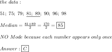 the\ data:\\\\51;\ 75;\ 79;\ \underline{81;\ 89};\ 90;\ 96;\ 98\\\\Median=\frac{81+89}{2}=\frac{170}{2}=\boxed{85}\\\\NO\ Mode\ because\ each\ number\ appears\ only\ once\\\\Answer:\boxed{C}