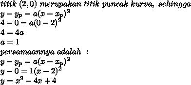 titik\ (2,0)\ merupakan\ titik\ puncak\ kurva,\ sehingga\\y-y_p=a(x-x_p)^2\\4-0=a(0-2)^2\\4=4a\\a=1\\persamaannya\ adalah\ :\\y-y_p=a(x-x_p)^2\\y-0=1(x-2)^2\\y=x^2-4x+4