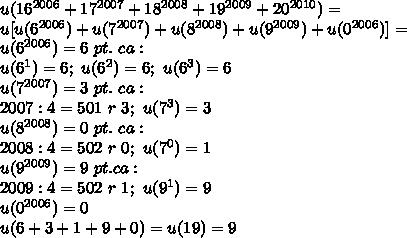 u(16^{2006}+17^{2007}+18^{2008}+19^{2009}+20^{2010})= \\ u[u(6^{2006})+u(7^{2007})+u(8^{2008})+u(9^{2009})+u(0^{2006})]= \\ u(6^{2006})=6~pt.~ca:\\u(6^1)=6;~u(6^2)=6;~u(6^3)=6 \\  u(7^{2007})=3~pt.~ca:\\ 2007:4=501~r~3;~u(7^3)=3 \\ u(8^{2008})= 0~pt.~ca:\\ 2008:4=502~r~0;~u(7^0)=1 \\ u(9^{2009})=9~pt.ca:\\ 2009:4=502~r~1;~u(9^1)=9 \\ u(0^{2006})=0 \\ u(6+3+1+9+0)=u(19)=9