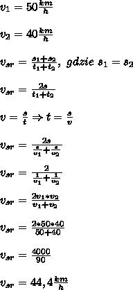 v_1=50\frac{km}{h}\\\\ v_2=40\frac{km}{h}\\\\ v_{sr}=\frac{s_1+s_2}{t_1+t_2},\ gdzie\ s_1=s_2\\\\ v_{sr}=\frac{2s}{t_1+t_2}\\\\ v=\frac{s}{t}\Rightarrow t=\frac{s}{v}\\\\ v_{sr}=\frac{2s}{\frac{s}{v_1}+\frac{s}{v_2}}\\\\ v_{sr}=\frac{2}{\frac{1}{v_1}+\frac{1}{v_2}}\\\\ v_{sr}=\frac{2v_1*v_2}{v_1+v_2}\\\\ v_{sr}=\frac{2*50*40}{50+40}\\\\ v_{sr}=\frac{4000}{90}\\\\ v_{sr}=44,4\frac{km}{h}