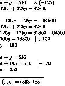 x+y=516 \ \ \ |\times (-125) \125x+225y=82800 \ \-125x-125y=-64500 \\underline{125x+225y=82800 \ \ \ \ \ } \225y-125y=82800-64500 \100y=18300 \ \ \ |\div 100 \y=183 \ \x+y=516 \x+183=516 \ \ \ |-183 \x=333 \ \\boxed{(x,y)=(333,183)}