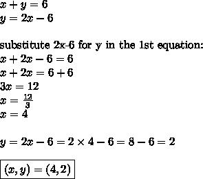 x+y=6 \\y=2x-6 \\ \\\hbox{substitute 2x-6 for y in the 1st equation:} \\x+2x-6=6 \\x+2x=6+6 \\3x=12 \\x=\frac{12}{3} \\x=4 \\ \\y=2x-6=2 \times 4-6=8-6=2 \\ \\\boxed{(x,y)=(4,2)}
