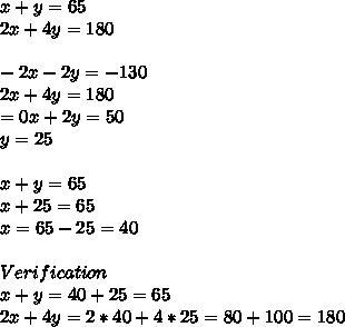 x+y=65 \\2x+4y=180 \\ \\-2x-2y=-130 \\2x+4y=180 \\=0x+2y=50 \\y=25 \\ \\x+y=65 \\x+25=65 \\x=65-25=40 \\ \\Verification\\x+y=40+25=65 \\2x+4y=2*40+4*25=80+100=180