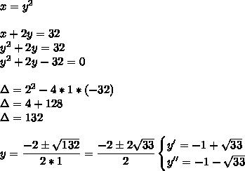 x=y^2\\\\x+2y=32\\y^2+2y=32\\y^2+2y-32=0\\\\\Delta=2^2-4*1*(-32)\\\Delta=4+128\\\Delta=132\\\\y= \dfrac{-2\pm \sqrt{132} }{2*1}= \dfrac{-2\pm2 \sqrt{33} }{2}\begin{cases}y'=-1+\sqrt{33}\\ y''=-1- \sqrt{33} \end{cases}