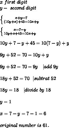 x\ first\ digit\\y-\ second\ digit\\\\ \left \{ {{x+y=7} \atop {(10y+x)+45=10x+y}} \right.\\\\ \left \{ {{x=7-y} \atop {10y+x+45=10x+y}} \right.  \\\\10y+7-y+45=10(7-y)+y\\\\9y+52=70-10y+y\\\\9y+52=70-9y\ \ \ | add\ 9y\\\\18y+52=70\ \ | subtrat\ 52\\\\18y=18\ \ \ | divide\ by\ 18\\\\y=1\\\\x=7-y=7-1=6\\\\original\ number\ is\ 61.