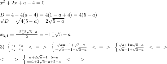 x^2+2x+a-4=0 \\  \\ D=4-4(a-4)=4(1-a+4)=4(5-a) \\  \sqrt{D} = \sqrt{4(5-a)}=2 \sqrt{5-a}  \\  \\ x_{3,4}= \frac{-2^+_-2 \sqrt{5-a} }{2} =-1^+_- \sqrt{5-a}  \\  \\ 3) \  \left \{ {{x_1=x_3} \atop {x_2=x_4}} \right.  \ \ \textless \ =\ \textgreater \  \  \left \{ {{  \sqrt{a} =-1+ \sqrt{5-a}  } \atop {- \sqrt{a}=-1-  \sqrt{5-a}   }} \right. \ \ \textless \ =\ \textgreater \  \  \left \{ {{ \sqrt{a}+1= \sqrt{5-a}  } \atop { \sqrt{a}=1+ \sqrt{5-a}  }} \right. \ \ \textless \ =\ \textgreater \  \ \\ \\ \ \textless \ =\ \textgreater \  \  \left \{ {{a+2 \sqrt{a} +1=5-a} \atop {a=1+2 \sqrt{5-a}+5-a }} \right. \  \ \textless \ =\ \textgreater \  \