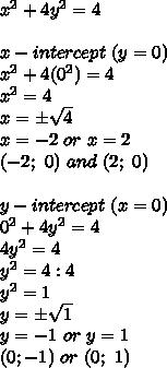 x^2+4y^2=4\\\\x-intercept\ (y=0)\\x^2+4(0^2)=4\\x^2=4\\x=\pm\sqrt4\\x=-2\ or\ x=2\\(-2;\ 0)\ and\ (2;\ 0)\\\\y-intercept\ (x=0)\\0^2+4y^2=4\\4y^2=4\\y^2=4:4\\y^2=1\\y=\pm\sqrt1\\y=-1\ or\ y=1\\(0;-1)\ or\ (0;\ 1)