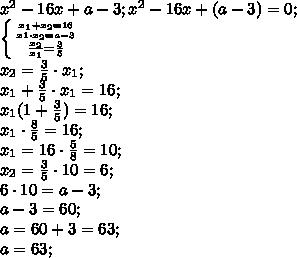 x^2-16x+a-3; x^2-16x+(a-3)=0;\\ \left \{ {{x_1+x_2=16} \atop {x1\cdot x_2=a-3}} \atop {\frac{x_2}{x_1}=\frac35} \right.\\ x_2=\frac35\cdot x_1 ;\\ x_1+\frac35\cdot x_1=16;\\ x_1(1+\frac35)=16;\\ x_1\cdot\frac85=16;\\ x_1=16\cdot\frac58=10;\\ x_2=\frac35\cdot10=6;\\ 6\cdot10=a-3;\\ a-3=60;\\ a=60+3=63;\\ a=63;\\
