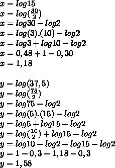 x = log15\\ x=log(\frac{30}{2})\\ x=log30-log2\\ x=log(3).(10)-log2\\ x=log3+log10-log2\\ x=0,48+1-0,30\\ x=1,18\\ \\ y=log(37,5)\\ y=log(\frac{75}{2})\\ y=log75-log2\\ y=log(5).(15)-log2\\ y=log5+log15-log2\\ y=log(\frac{10}{2})+log15-log2\\ y=log10-log2+log15-log2\\ y=1-0,3+1,18-0,3\\ y=1,58