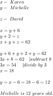 x-\ Karen\y-\ Michelle\\z-\ David\\ x=y+6\y+2=z\x+y+z=62\\y+6+y+2+y=62\3x+8=62\ \ \ | subtract\ 8\3x=54\ \ \ \ | divide\ by\ 3\x=18\\y=x-6=18-6=12\\Michelle\ is\ 12\ years\ old.