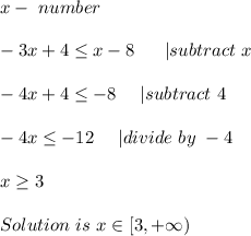 x-\ number\\-3x+4 \leq x-8\ \ \ \ \ | subtract\ x\\