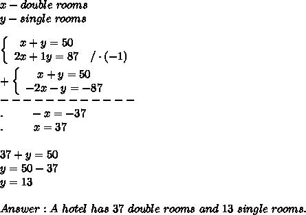 x-double\ rooms\\y-single\ rooms\\\\  \left\{\begin{array}{ccc}x+y=50\\2x+1y=87&/\cdot(-1)\end{array}\right\\\\+ \left\{\begin{array}{ccc}x+y=50\\-2x-y=-87\end{array}\right\\------------\\.\ \ \ \ \ \ \ -x=-37\\.\ \ \ \ \ \ \ \ x=37\\\\37+y=50\\y=50-37\\y=13\\\\Answer:A\ hotel\ has\ 37\ double\ rooms\ and\ 13\ single\ rooms.