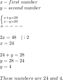 x-first\ number\y-second\ number\\ \left \{ {{x+y=28} \atop {x-y=20}} \right. \+----\\2x=48\ \ \ |:2\x=24\\24+y=28\y=28-24\y=4\\These\ numbers\ are\ 24\ and\ 4.