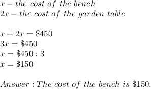 x-the\ cost\ of\ the\ bench\\2x-the\ cost\ of\ the\ garden\ table\\\\x+2x=\$450\\3x=\$450\\x=\$450:3\\x=\$150\\\\Answer:The\ cost\ of\ the\ bench\ is\ \$150.