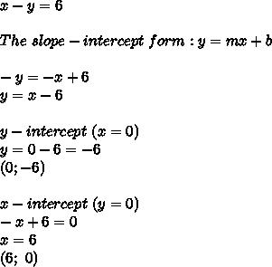 x-y=6\\\\The\ slope-intercept\ form:y=mx+b\\\\-y=-x+6\\y=x-6\\\\y-intercept\ (x=0)\\y=0-6=-6\\(0;-6)\\\\x-intercept\ (y=0)\\-x+6=0\\x=6\\(6;\ 0)
