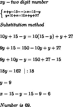 xy- two\ digit\ number\\ \left \{ {{x+y=15-->x=15-y} \atop {y*10+x=10x+y+27}} \right. \\Substitution\ method\\10y+15-y=10(15-y)+y+27\\9y+15=150-10y+y+27\\9y+10y-y=150+27-15\\18y=162\ \ |:18\\ y=9\\ x=15-y=15-9=6\\ Number\ is\ 69.