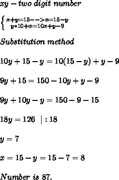 xy- two\ digit\ number\\ \left \{ {{x+y=15-->x=15-y} \atop {y*10+x=10x+y-9}} \right. \\Substitution\ method\\10y+15-y=10(15-y)+y-9\\9y+15=150-10y+y-9\\9y+10y-y=150-9-15\\18y=126\ \ |:18\\ y=7\\ x=15-y=15-7=8\\ Number\ is\ 87.